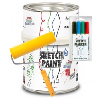 Маркерная краска SketchPaint белый глянец 1 литр KIT (набор)
